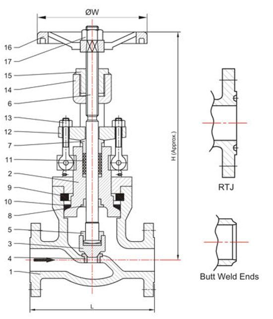 pressure-seal-globe-valves-drawing